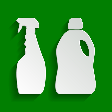 Household chemical bottles sign. Vector. Paper whitish icon with soft shadow on green background. Illustration