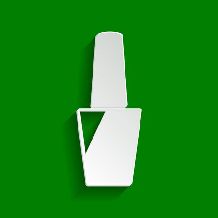 Znak polski paznokci. Wektor. Papier biaława ikonę z delikatny cień na zielonym tle.
