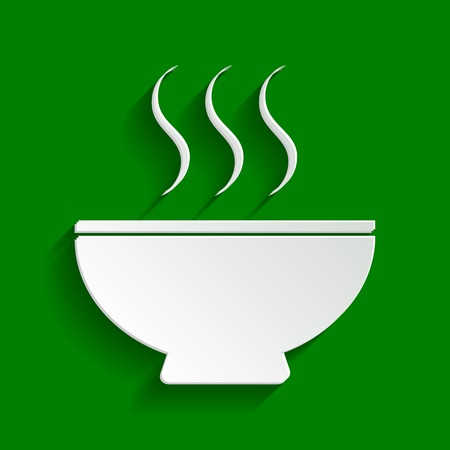 gastro: Soup sign. Vector. Paper whitish icon with soft shadow on green background.