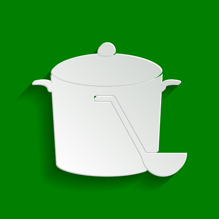 Pan with steam sign. Vector. Paper whitish icon with soft shadow on green background.