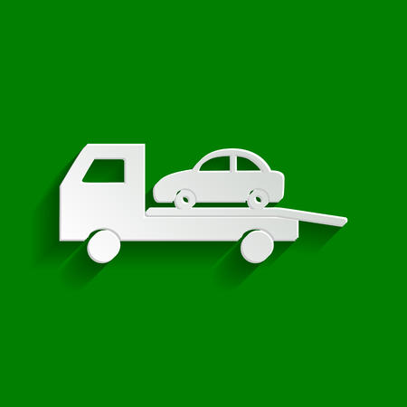 Tow car evacuation sign. Vector. Paper whitish icon with soft shadow on green background. Illustration