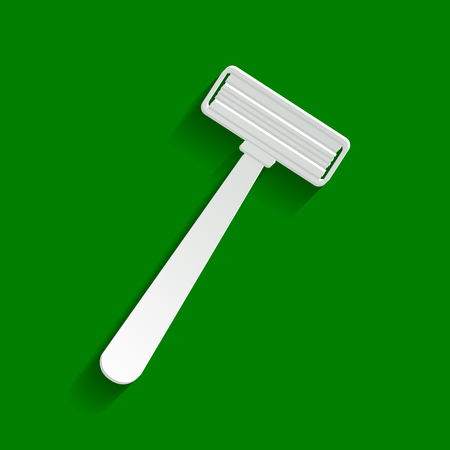 removing: Safety razor sign. Vector. Paper whitish icon with soft shadow on green background. Illustration