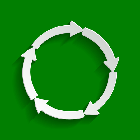 Circular arrows sign. Vector. Paper whitish icon with soft shadow on green background. Illustration