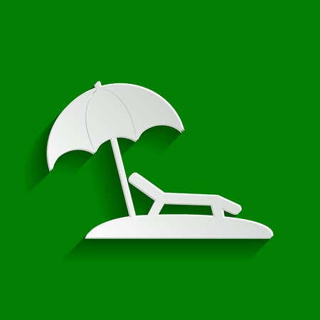 Tropical resort beach. Sunbed Chair sign. Vector. Paper whitish icon with soft shadow on green background. Illustration