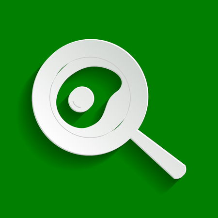 Omelet at pan icon. Vector. Paper whitish icon with soft shadow on green background.