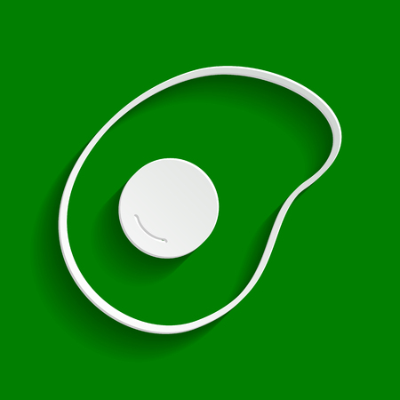 Omelet sign. Flat designed style icon. Vector. Paper whitish icon with soft shadow on green background. Illustration