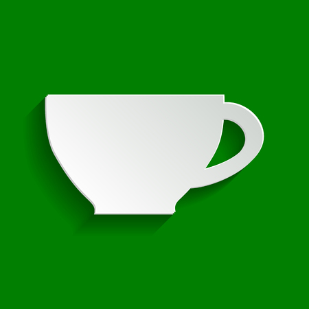 decaf: Cup sign. Vector. Paper whitish icon with soft shadow on green background.