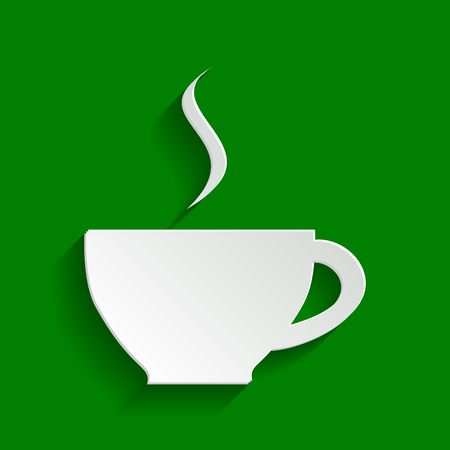 Cup sign with one small stream of smoke. Vector. Paper whitish icon with soft shadow on green background. Illustration
