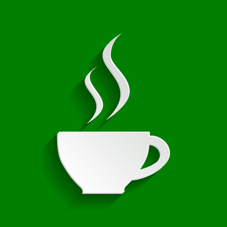Cup sign with two small streams of smoke. Vector. Paper whitish icon with soft shadow on green background. Illustration