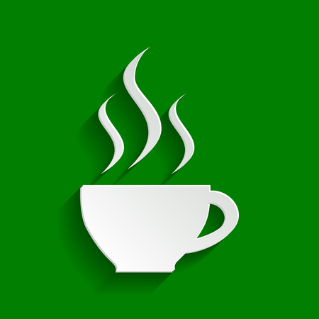 long beans: Cup sign with three small streams of smoke. Vector. Paper whitish icon with soft shadow on green background.