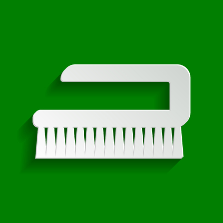 Cleaning brush hygiene tool sign. Vector. Paper whitish icon with soft shadow on green background. Illustration