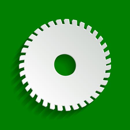 Zaagbord. Vector. Papier whitish icoon met zachte schaduw op groene achtergrond.