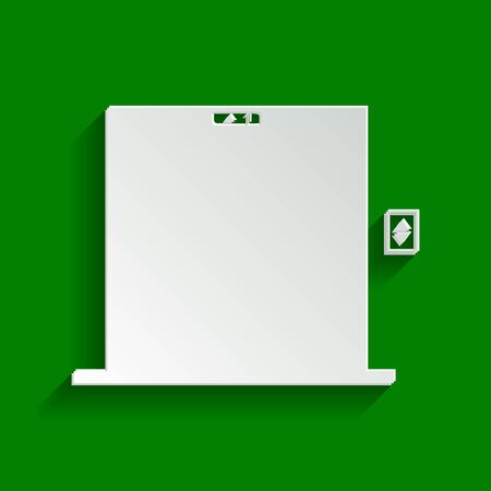 going green: Elevators door sign. Vector. Paper whitish icon with soft shadow on green background. Illustration