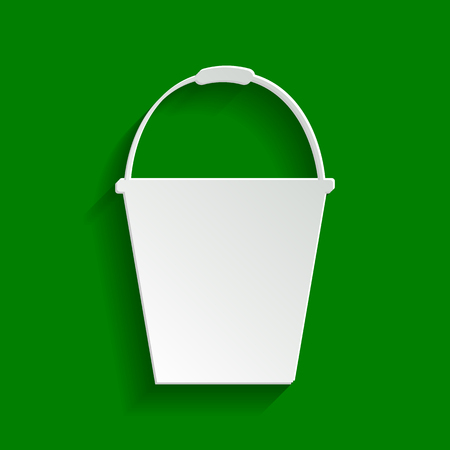 celebrities: Bucket sign for garden. Vector. Paper whitish icon with soft shadow on green background.