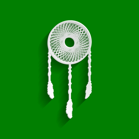 Dream catcher sign. Vector. Paper whitish icon with soft shadow on green background.