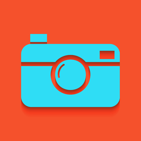 Digital photo camera sign. Vector. Whitish icon on brick wall as background. Illustration