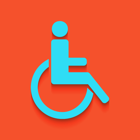 con: Disabled sign illustration. Vector. Whitish icon on brick wall as background. Illustration