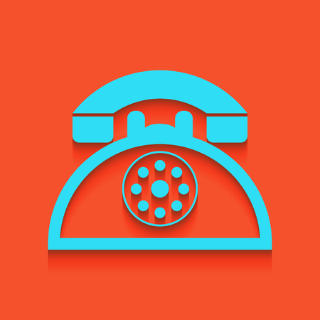 old telephone: Retro telephone sign. Vector. Whitish icon on brick wall as background.