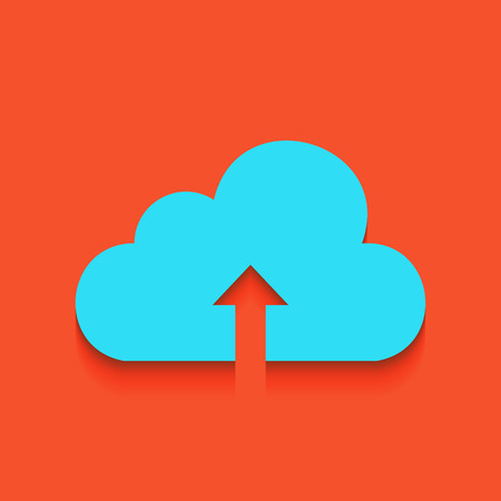 Cloud technology sign. Vector. Whitish icon on brick wall as background. Illustration
