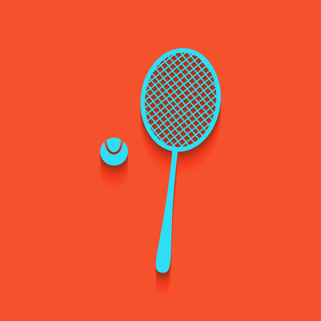 Tennis racquet with ball sign. Vector. Whitish icon on brick wall as background.