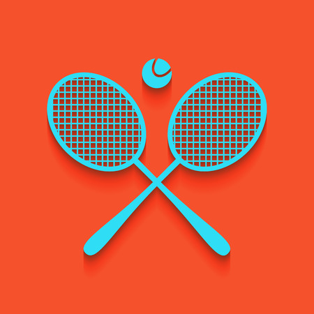 Two tennis racket with ball sign. Vector. Whitish icon on brick wall as background.