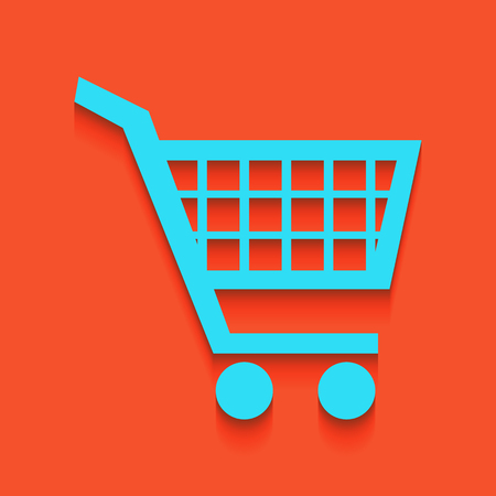 Shopping cart sign. Vector. Whitish icon on brick wall as background.