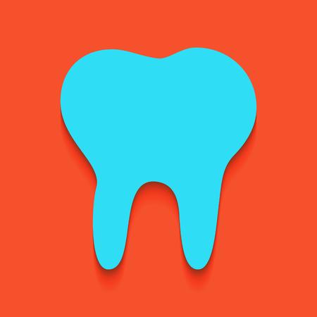 Tandteken illustratie. Vector. Whitish pictogram op bakstenen muur als achtergrond. Stock Illustratie