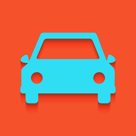 Car sign illustration. Vector. Whitish icon on brick wall as background.