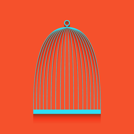 Bird cage sign. Vector. Whitish icon on brick wall as background. Ilustração