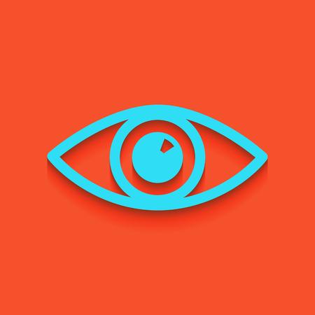 Eye sign illustration. Vector. Whitish icon on brick wall as background. Illustration