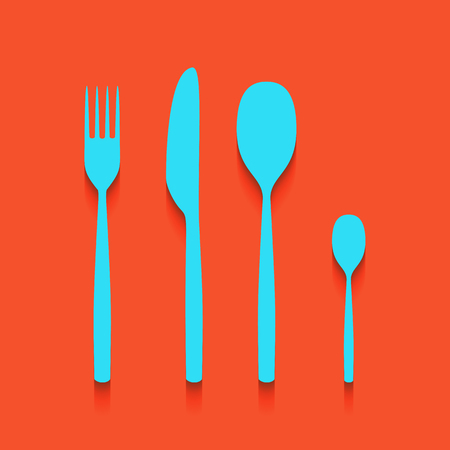 dinner party: Fork spoon and knife sign. Vector. Whitish icon on brick wall as background.