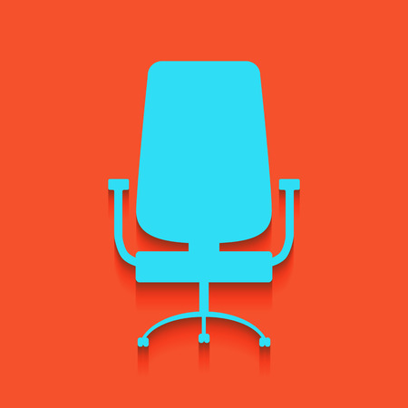 Office chair sign. Vector. Whitish icon on brick wall as background.
