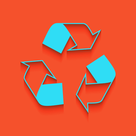 Recycle logo concept. Vector. Whitish icon on brick wall as background. Illustration