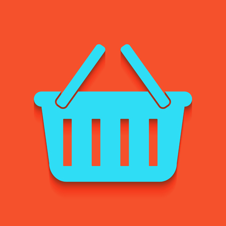 buy now: Shopping basket sign. Vector. Whitish icon on brick wall as background.