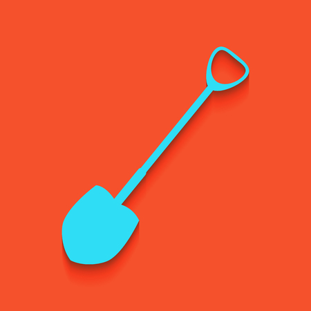 Shovel to work in the garden. Vector. Whitish icon on brick wall as background. Illustration