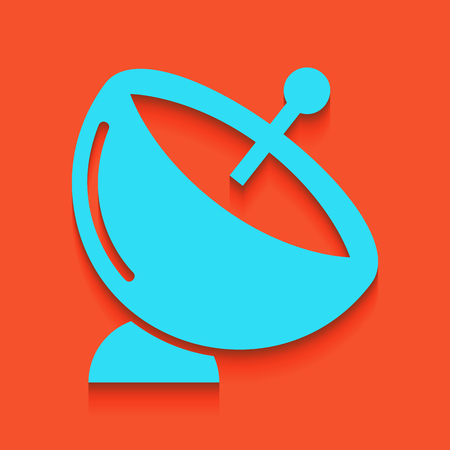 Satellite dish sign. Vector. Whitish icon on brick wall as background.