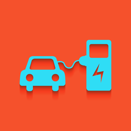 Electric car battery charging sign. Vector. Whitish icon on brick wall as background. Illustration