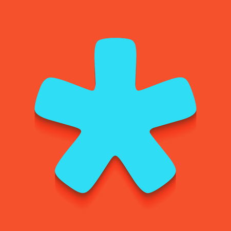 favourite: Asterisk star sign. Vector. Whitish icon on brick wall as background. Illustration