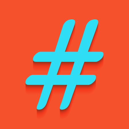 Hashtag sign illustration. Vector. Whitish icon on brick wall as background. Illustration