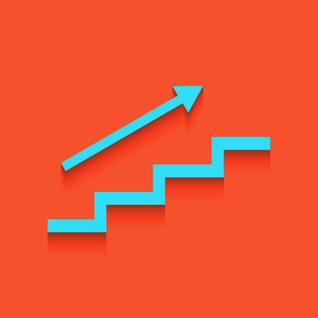 Stair with arrow. Vector. Whitish icon on brick wall as background.