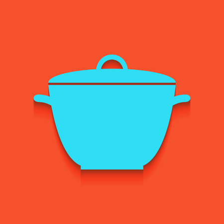 Saucepan simple sign. Vector. Whitish icon on brick wall as background.