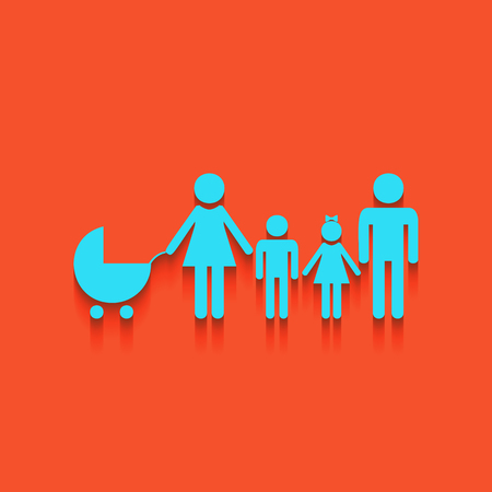 Family sign illustration. Vector. Whitish icon on brick wall as background.