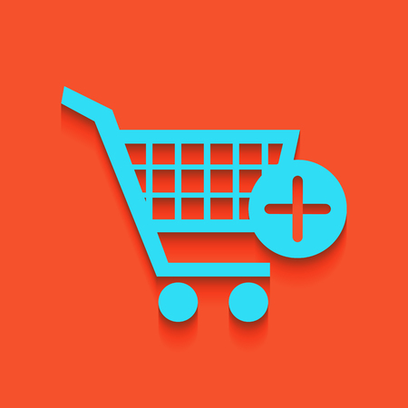 Shopping Cart with add Mark sign. Vector. Whitish icon on brick wall as background. Illustration