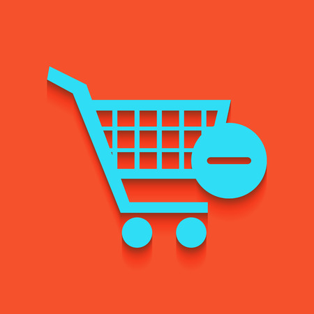 Vector Shopping Cart with Remove sign. Vector. Whitish icon on brick wall as background. Illustration