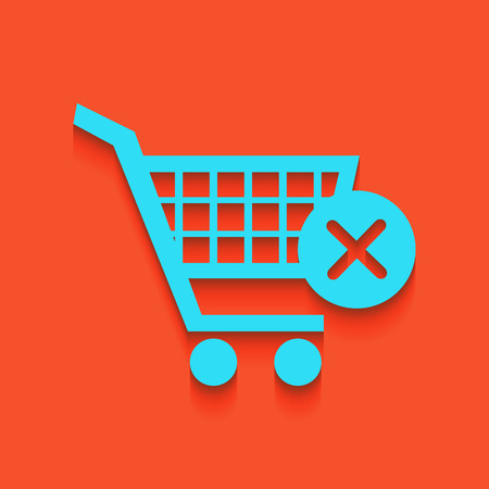 Shopping Cart with delete sign. Vector. Whitish icon on brick wall as background.
