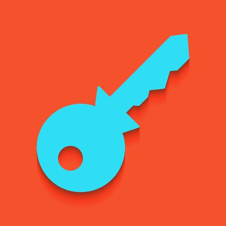 Key sign illustration. Vector. Whitish icon on brick wall as background.