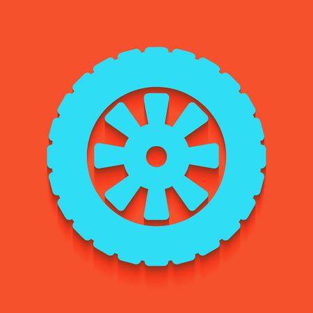 rim: Road tire sign. Vector. Whitish icon on brick wall as background.