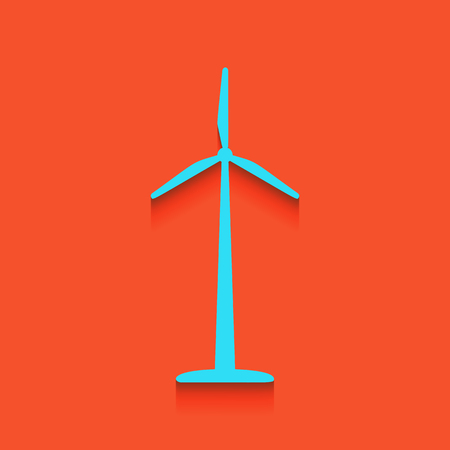 Wind turbine logo or sign. Vector. Whitish icon on brick wall as background.