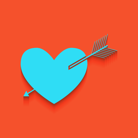 cor: Arrow heart sign. Vector. Whitish icon on brick wall as background. Illustration