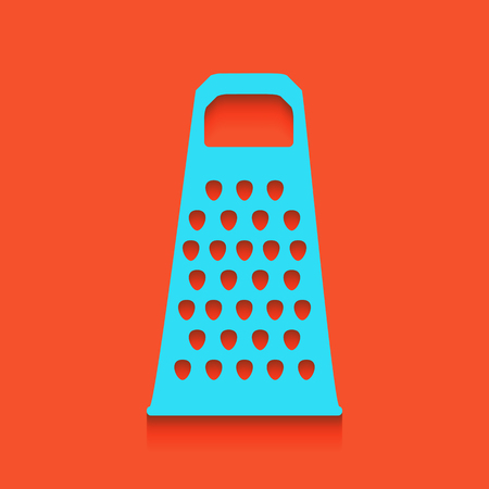grater: Cheese grater sign. Vector. Whitish icon on brick wall as background.